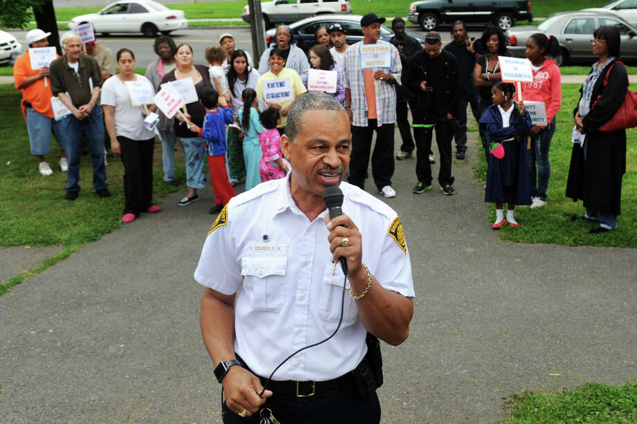 "Bridgeport Police Lt. David Daniels speaks during the ""See Something, Say Something, Save Our Children"" rally at Trumbull Gardens, in Bridgeport, Conn., May 24th, 2012. Daniels said on July 1, 2012 that he has been moved out of his position at the head of the department's Community Services Division. Photo: Ned Gerard / Connecticut Post"