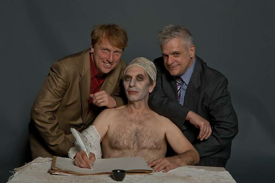"Director Russell Blackwood (left) and producer Marc Huestis (right) with Aaron Malbert, who plays Jean-Paul Marat in their production of Peter Weiss' ""Marat/Sade"" at the Brava Theatre. Photo by Daniel Nicoletta. Photo: Daniel Nicoletta"