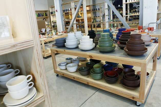San Francisco  Heath Ceramics: This huge warehouse showroom shows off the colorful hand-glazed clay dinnerware first created by Sausalito's Edith Heath in 1948. There are comfy couches and books, fine tabletop textiles and whimsical totes, a Blue Bottle cafe and a large tile showroom (and a tile factory opening soon). Current seasonal ceramic colors include bright blue and cool green. Staffers still wrap your purchases in newspaper, just like the old days. 2900 18th St., (415) 361-5552, Ext. 13, www.heathceramics.com. Photo: Sonja Och, The Chronicle
