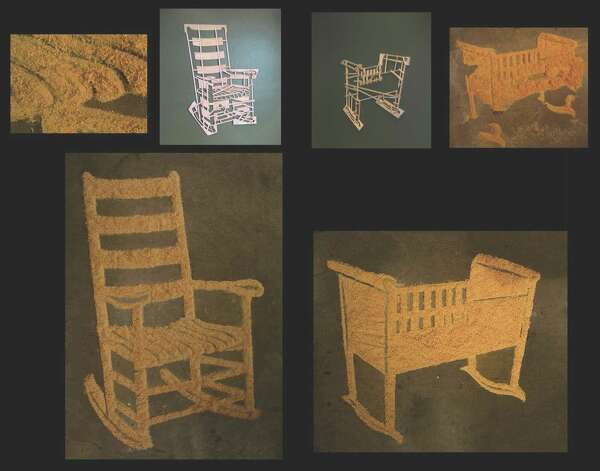 "Jill Bedgood ""drew"" ""Rocker & Cradle"" in sawdust on the gallery floor."