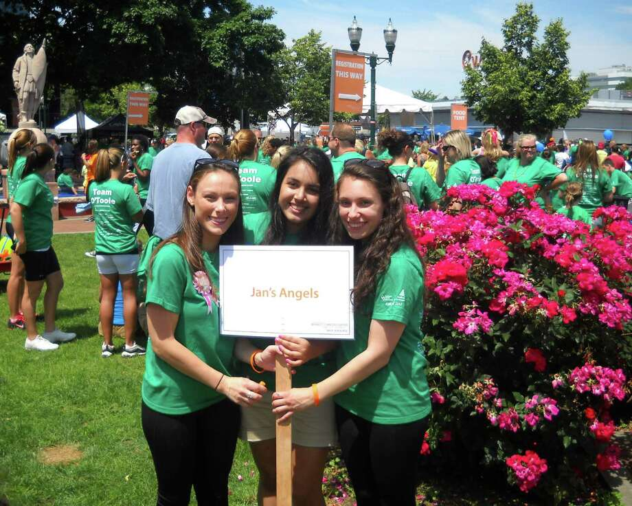 Erin McGaughey, Alyssa Vartuli and Lauren McGaughey led Jan's Angels, a team at Hope in Motion Walk, Run and Ride. The team was named for, and dedicated to, Jan McGaughey, who died of cancer last year. Photo: Contributed Photo