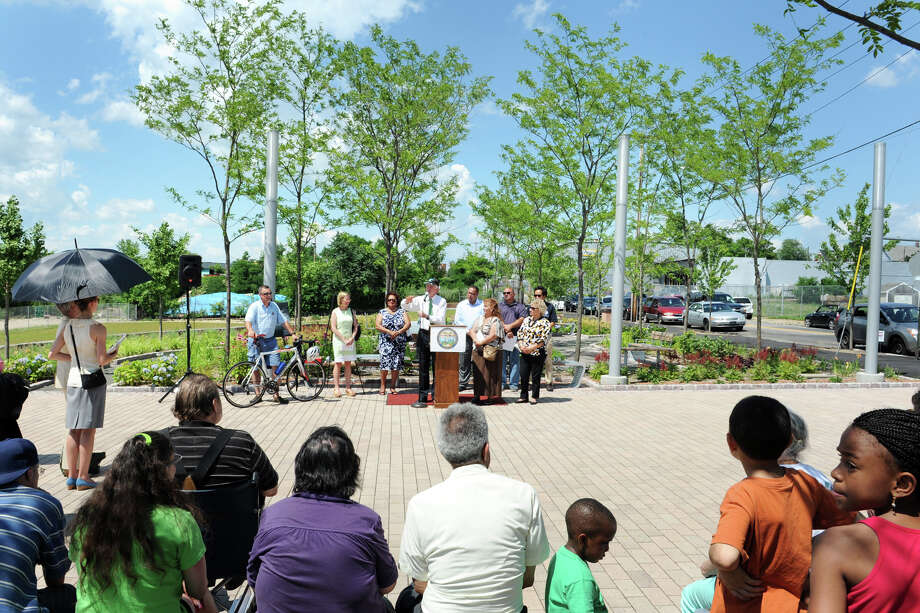 Mayor Bill Finch speaks at the dedication of Knowlton Park, in Bridgeport, Conn. July 2nd, 2012. Knowlton Park, on the Pequonnock River, is part of Bridgeport's Parks Master Plan. Photo: Ned Gerard / Connecticut Post