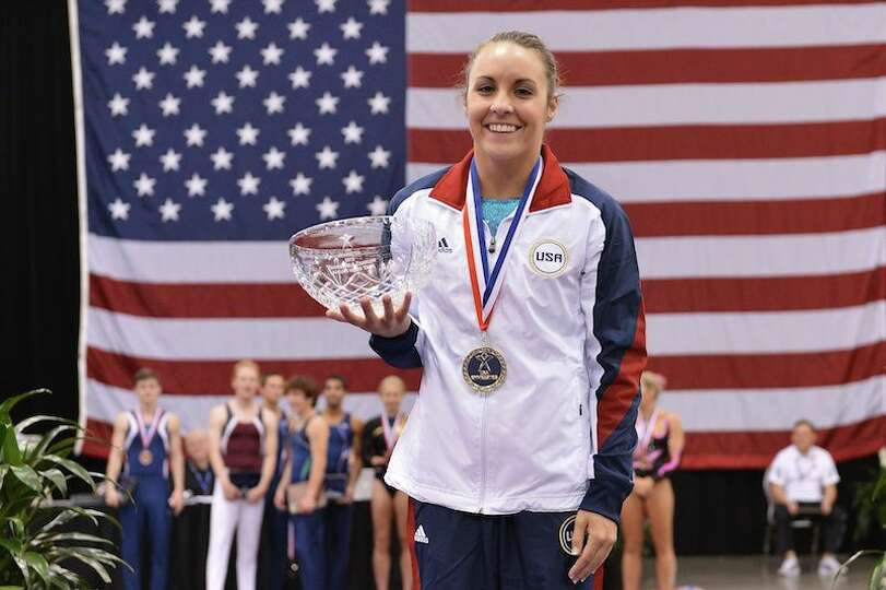 Savannah Vinsant of Newton won the U.S. Olympic Trials in trampoline.