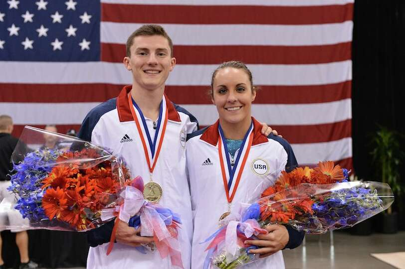Savannah Vinsant of Newton, right, and Steven Gluckenstein, left, will represent the U.S. in trampol
