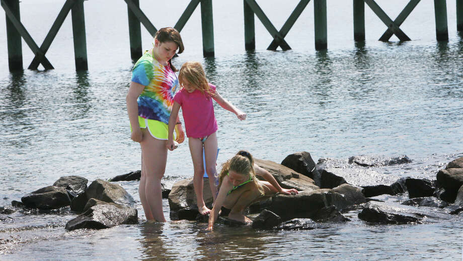 Cousins, from left, Hayley Murray, 16, Maren Blaha, 6, and Rylee Tondora, search for sea life at Walnut beach in Milford, Conn. on Monday, July 2, 2012. The girls are from Virginia and are visiting their grandmother, McGee Tondora, of Milford. Photo: B.K. Angeletti / Connecticut Post