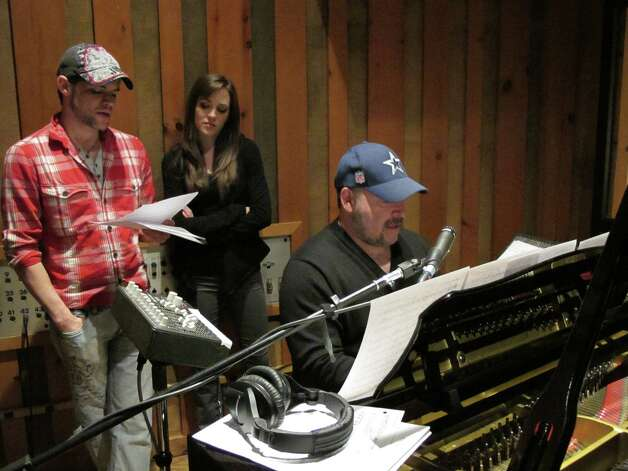 "Composer Frank Wildhorn (far right) and stars Jeremy Jordan and Laura Osnes had the chance to record the score of the Broadway musical ""Bonnie & Clyde"" two days after the show closed thanks to a new label - Broadway Records - devoted to original cast albums. Photo: Contributed Photo"