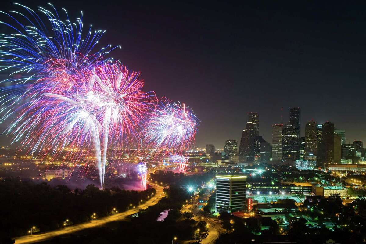 Fireworks will explode over the downtown Houston skyline during the Southwest Airlines Freedom Over Texas celebration Wednesday.