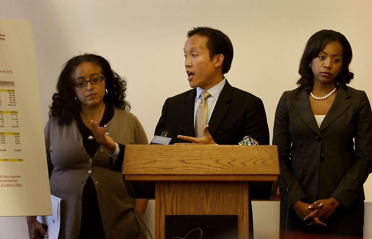Board President David Chiu (center) made a point about the facts and figures as Supervisor Christina Olague (left) and Supervisor Malia Cohen (right) listened. Members of the San Francisco Board of Supervisors announced plans Monday July 2, 2012 to delay a deal Mayor Ed Lee had struck with California Pacific Medical Center. CPMC had planned to build two new hospitals, but new financial documents show the bargain may be a boondoggle for the city.