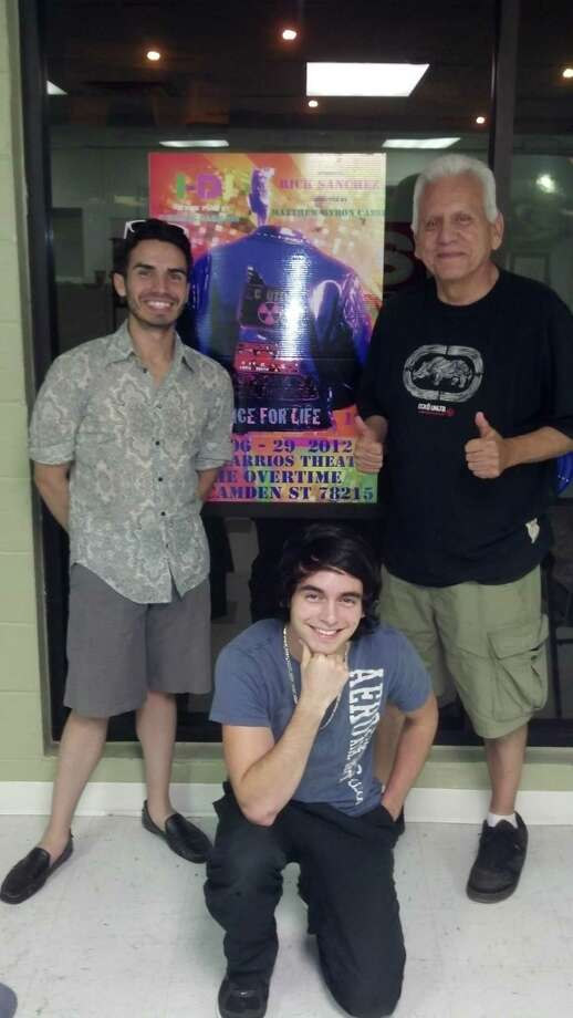 """Rick Sanchez (from left) and Dominique Tijerina appear in the Overtime Theater's premiere of """"I-DJ,"""" which was written by Gregg Barrios. Courtesy Matthew Byron Cassi"""