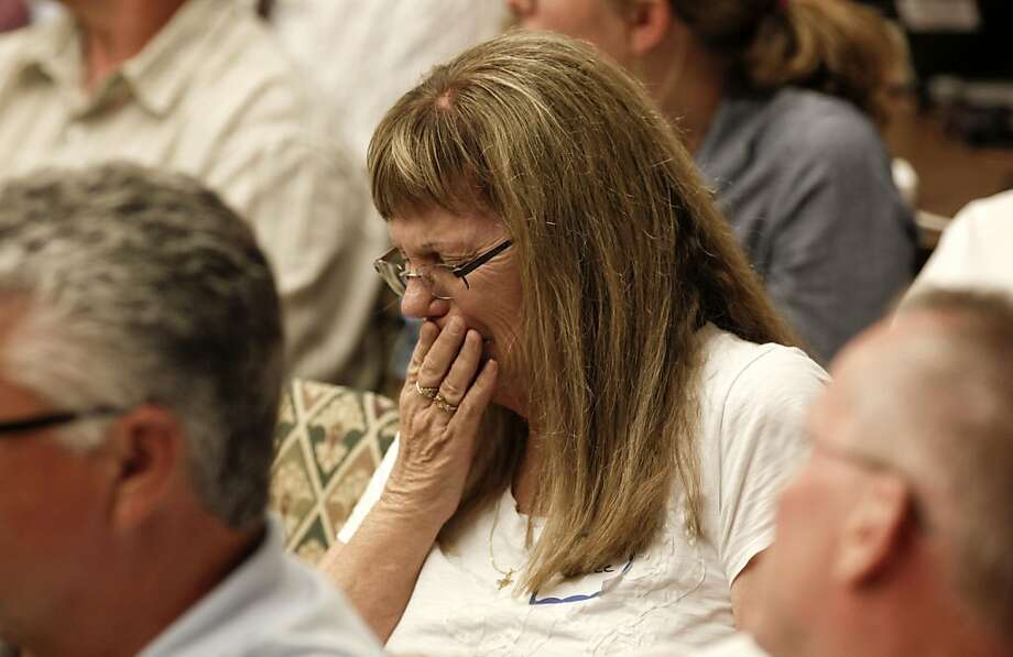 Retiree, Susan Stagnaro, a community service officer for the city for 30 years, is overcome with emotion as she listens to citizen comments, as the Stockton City Council  decides to file for bankruptcy on Tuesday June 26, 2012, in Stockton, Calif.  Stockton becomes the biggest city in American history to file for bankruptcy. Photo: Michael Macor, The Chronicle