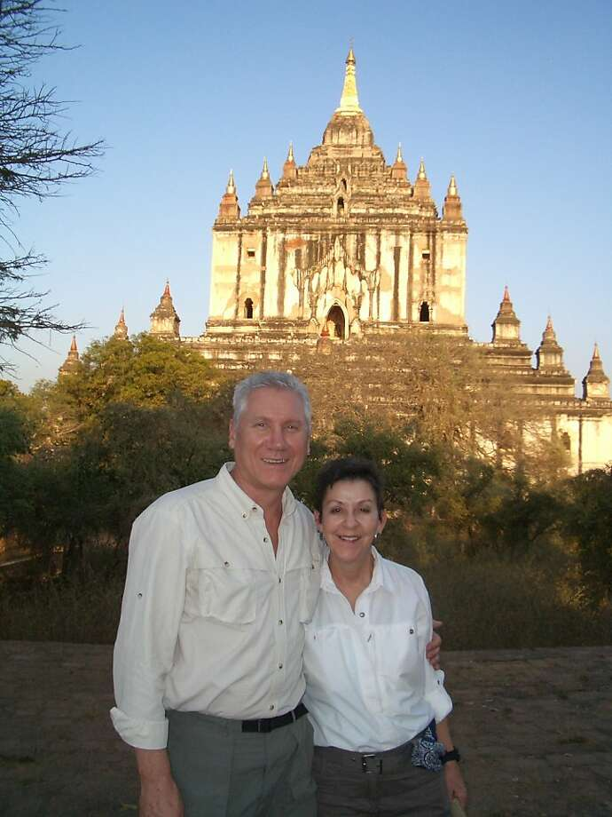 Martha Naber and Lee Glowinski of San Francisco in front of Thatbyinnyu temple in Bagan, Myanmar. Photo: Courtesy Martha Naber