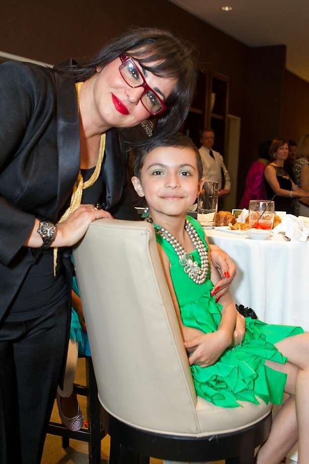 """Azadeh Riaz and her daughter, Raana, at the """"Searching for the Rainbow"""" fashion fundraiser at Neiman Marcus May 3. Photo: Jana Asenbrennerova, Jana Asenbrennerova For Drew Alt"""