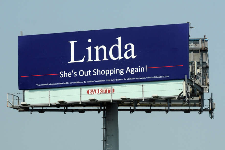 """Linda : She's Out Shopping Again!"" billboard, near I-95, in Bridgeport, Conn. June 29th, 2012. Photo: Ned Gerard / Connecticut Post"