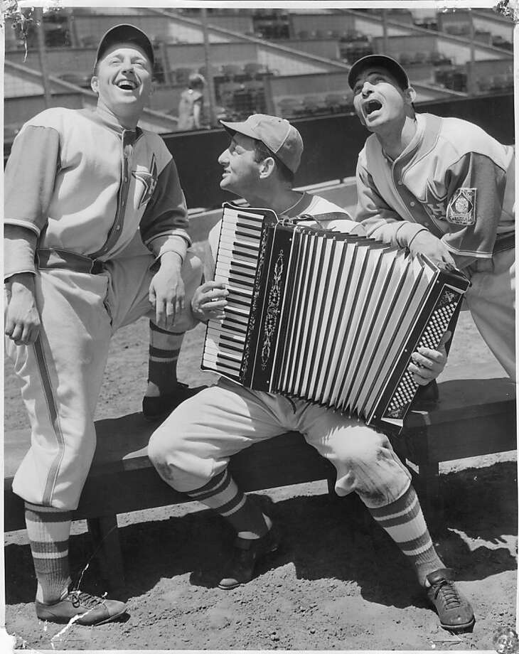 Caption: Rugger Ardizoia, George Puccinelli and Ernie Orsatti of the Hollywood Stars in 1939. All three played in the Pacific Coast League and in the majors. Photo: Courtesy Of Rugger Ardizoia