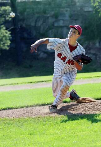 BANC's pitcher Eric Boender pitched a no-hitter against Rink & Racquet at George M. Weiss Senior Babe Ruth Tournament Havemeyer Field Monday, July 2, 2012. BANC won 12 to 1. Photo: Helen Neafsey / Greenwich Time
