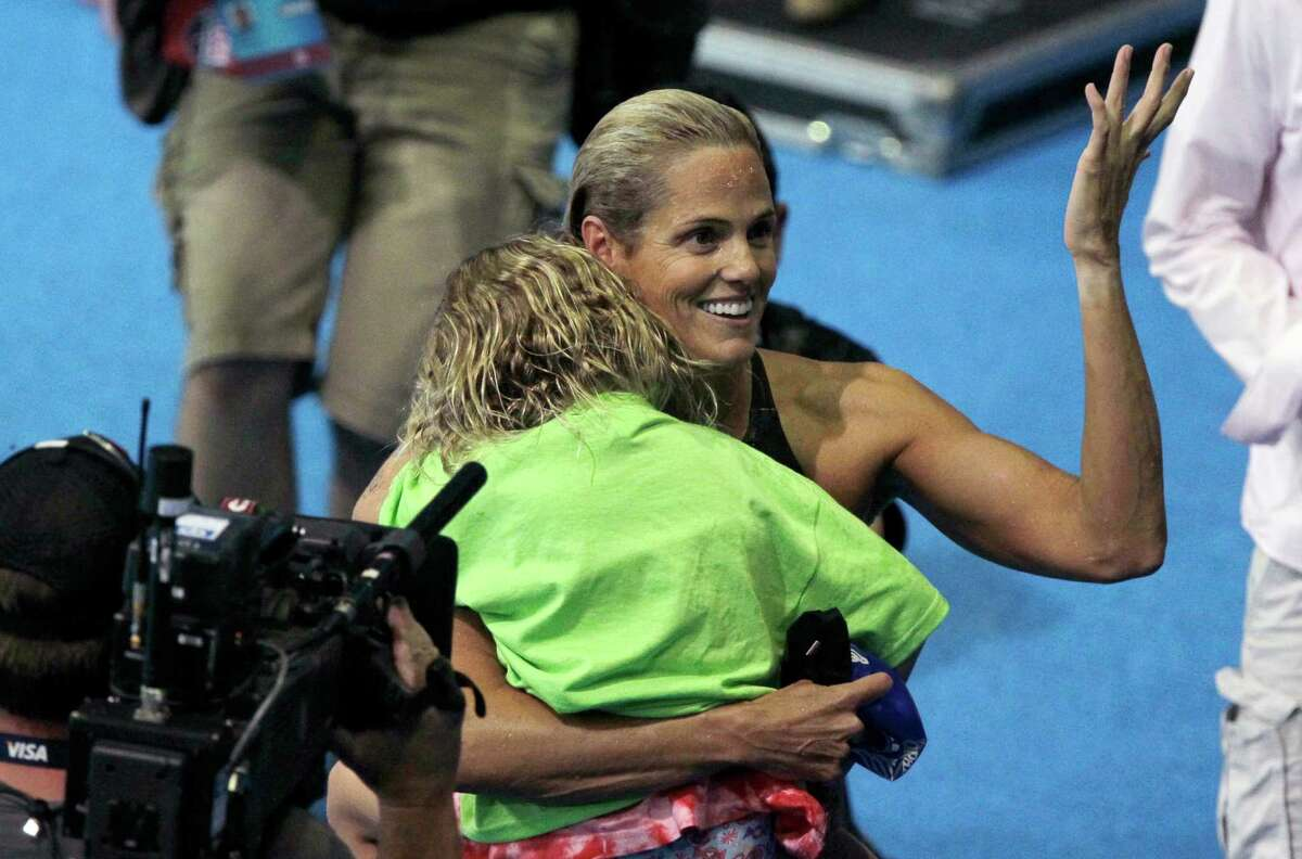Dara Torres reacts after swimming in the women's 50-meter freestyle final at the U.S. Olympic swimming trials on Monday, July 2, 2012, in Omaha, Neb.
