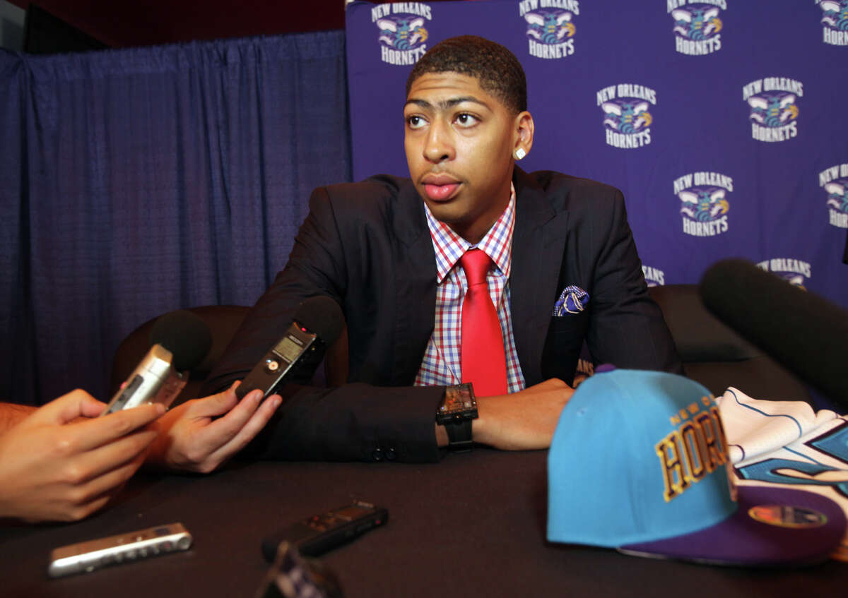 New Orleans Hornets' Anthony Davis talks with reporters in New Orleans Friday, June 29, 2012. Davis was the first pick in the 2012 NBA Draft on Thursday.