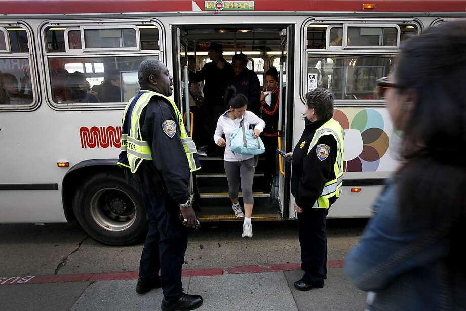 MUNI fare inspectors check to make sure passengers have paid at Van Ness and Market in San Francisco. Photo: Sarah Rice, Special To The Chronicle