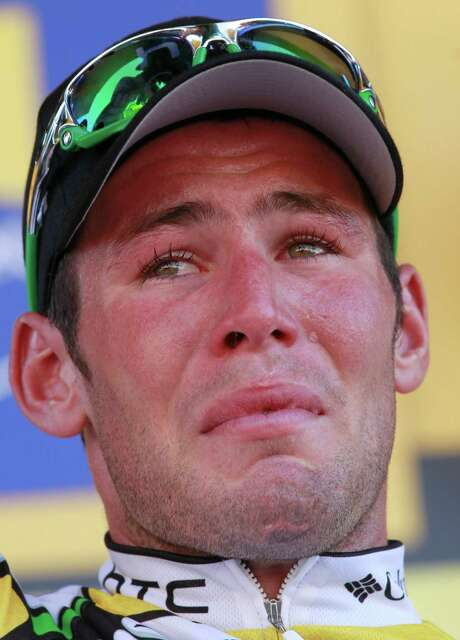 A tear rolls down the cheek of stage winner Mark Cavendish of Britain after the fifth stage of the Tour de France cycling race over 187.5 kilometers (116.5 miles) with start in Epernay and finish in Montargis, eastern France, Thursday, July 8, 2010. (AP Photo/Bas Czerwinski) Photo: Bas Czerwinski / AP