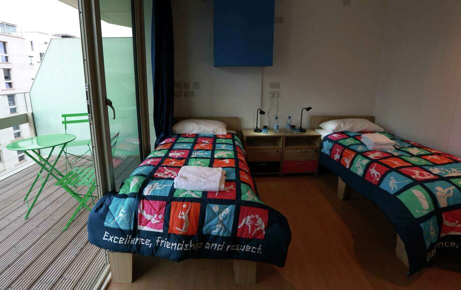 LONDON - JUNE 29: A twin bedroom and balcony in the Olympic Village, built for the London 2012 Olympic Games, on June 29, 2012. in Stratford, east London. The village will accomodate up to 16,000 athletes and officials from more than 200 nations. Photo: WPA Pool, Getty Images / 2012 Getty Images