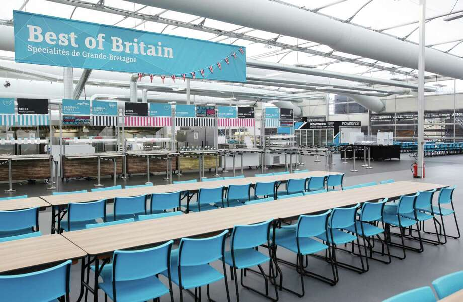 LONDON - JUNE 29:  In this handout image provided by LOCOG, a general view of the London 2012 Athletes Village main dining hall, built for the London 2012 Olympic Games, on June 29, 2012. in Stratford, east London. The village will accomodate up to 16,000 athletes and officials from more than 200 nations. Photo: Handout, LOCOG Via Getty Images / 2012 LOCOG