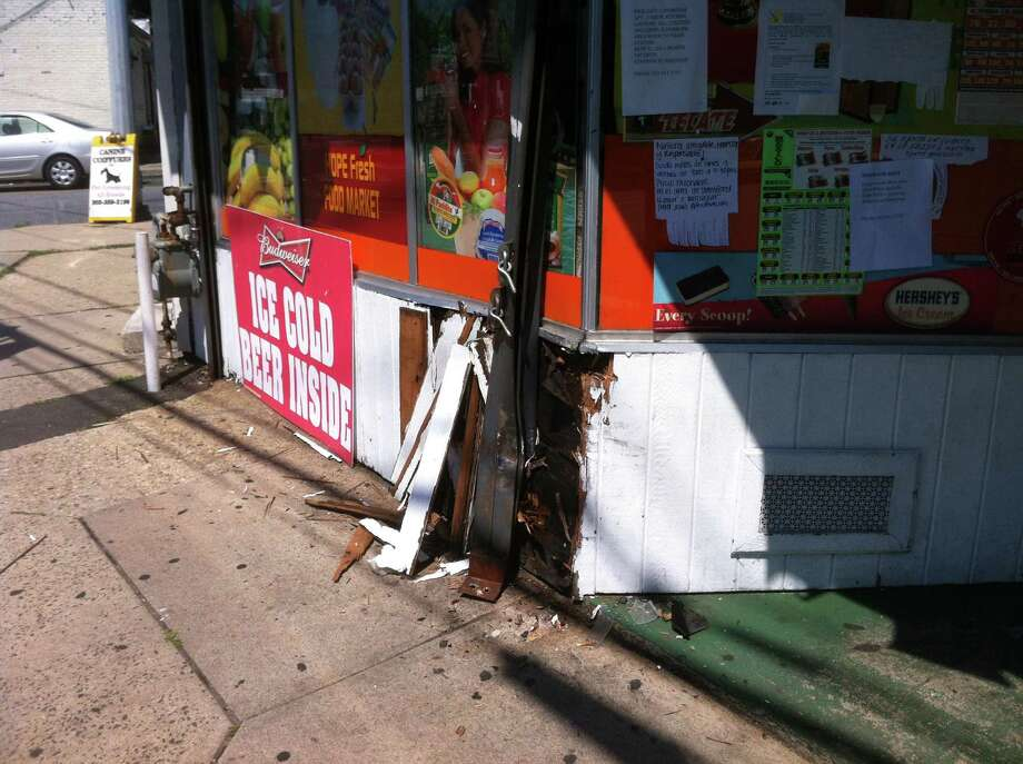 The storefront of the Hope Fresh Food Market sustained minor damage after a car struck the building. Photo: Matt Silverman