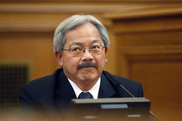 "San Francisco Mayor Ed Lee testifies before the Ethics Commission during suspended Sheriff Ross Mirkarimi's official misconduct hearing at City Hall on Friday, June 29, 2012 in San Francisco. Lee said that he would find it ""extremely difficult"" to work again with Sheriff Ross Mirkarimi if the suspended lawman gets his job back.(AP Photo/San Francisco Chronicle, Lea Suzuki)  NORTHERN CALIFORNIA MANDATORY CREDIT PHOTOG & CHRONICLE; MAGS OUT; NO SALES Photo: Lea Suzuki, Associated Press"