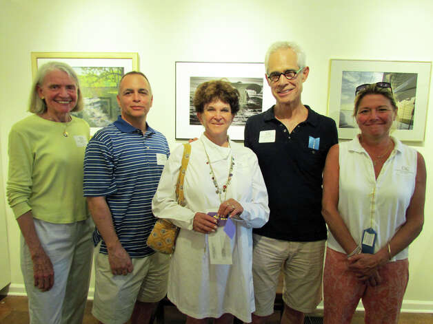 "Best in Show winner Judith Orseck Katz joined first place winners during the opening reception for the ""Marine and Coastal Art"" exhibition at Rowayton Arts Center. From left are Marianne Rothballer, Tony d'Amico, Katz, Ben Larrabee and Amy Schott. Ginny Awn and James Ryan were not present. Photo: Contributed Photo / Norwalk Citizen"