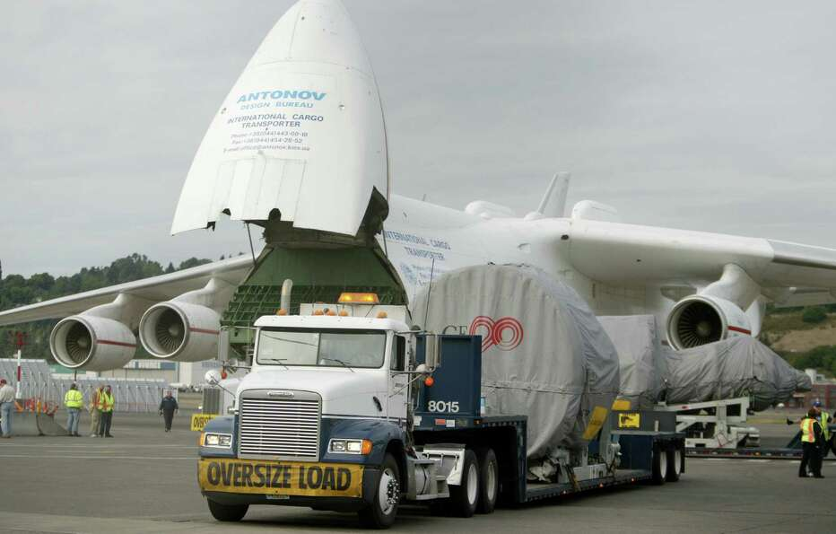 Here's a shot of the Boeing 777 engines about to be loaded onto the Antonov 225 at Boeing Field in S
