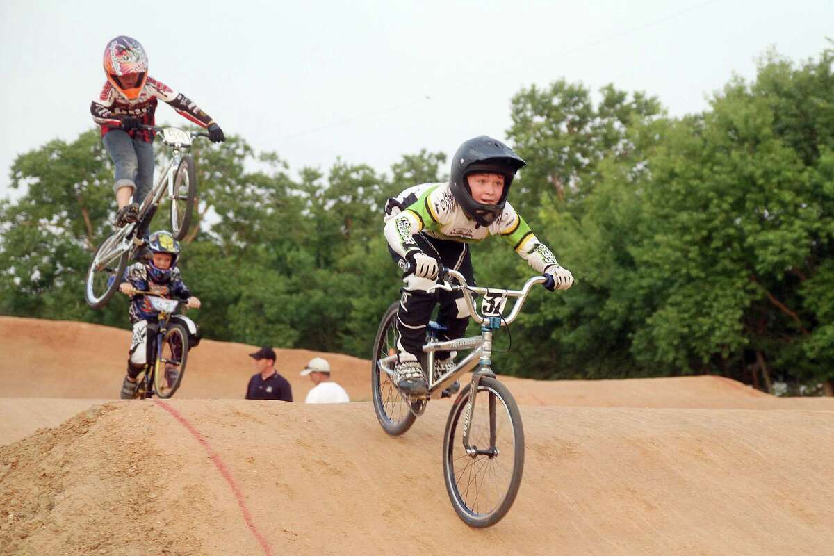 Caleb Craft of Crosby leads the pack during one of the races at Pearland BMX's Olympic Day Race event.