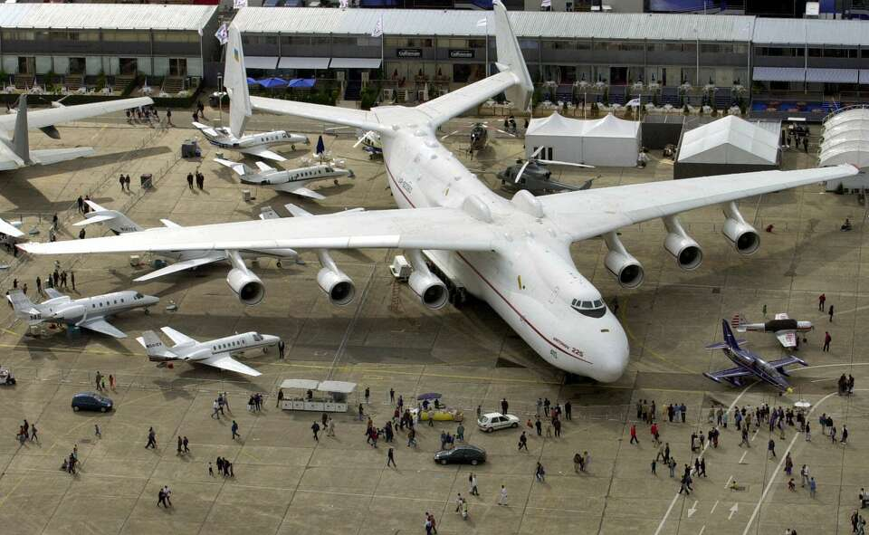 The largest transport plane in the world remains the Antonov 225, shown here on June 17, 2001 at the