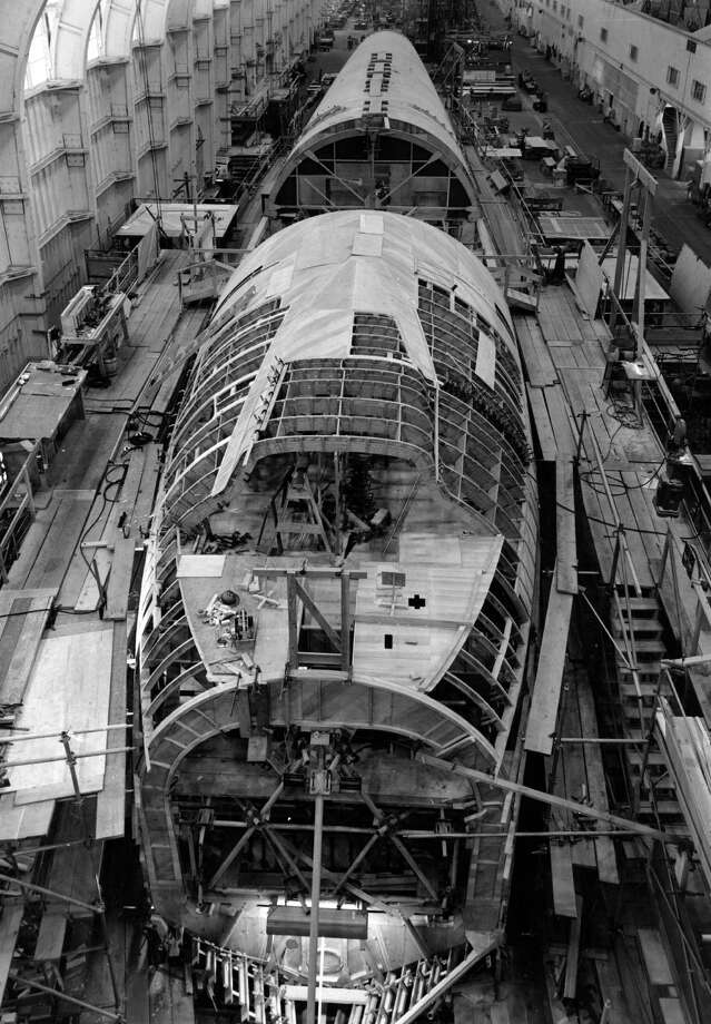 "The iconic unusual cargo airplane, of course, was the Hughes H-4 Hercules, better known as the ""Spruce Goose,"" shown here under production in 1945. Photo: Keystone Features, Getty Images/Hulton Archive"