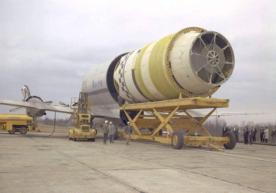NASA used the Pregnant Guppy to transport the S-IV (second) stage of the Saturn I rocket from manufacturing facilities on the West coast to testing 