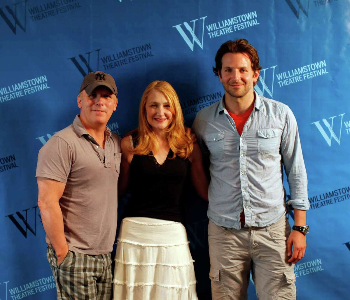 Director Scott Ellis, left, actress Patricia Clarkson, center, and actor Bradley Cooper, right, pose for photos during a press availability for