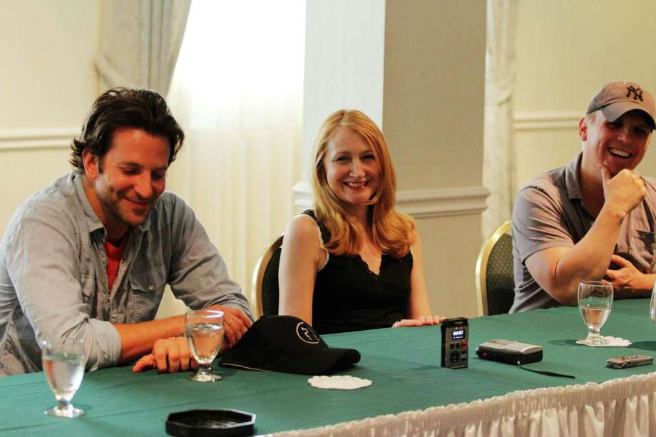 """Actor Bradley Cooper, left, actress Patricia Clarkson, center, and director Scott Ellis, right, answer questions during a press availability for """"The Elephant Man"""" as part of the 2012 Williamstown Theatre Festival season, Tuesday, July 3, 2012 in Williamstown, Mass.  The production will run on the Nikos Stage from July 25 through August 5. (Dan Little/Special to the Times Union) Photo: Dan Little / 00018326A"""