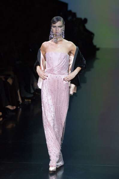 A model wears a creation by  Italian designer Giorgio Armani as part of his presentation for Women's
