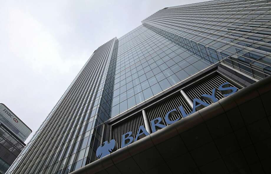 "A logo sits above the entrance to the Barclays Plc headquarters in the Canary Wharf business district of London, U.K., on Tuesday, July 3, 2012. Robert ""Bob"" Diamond, the architect of Barclays Plc's investment banking expansion, resigned as chief executive officer, succumbing to political pressure to go after the bank admitted to rigging global interest rates. Photographer: Chris Ratcliffe/Bloomberg Photo: Chris Ratcliffe, Bloomberg"