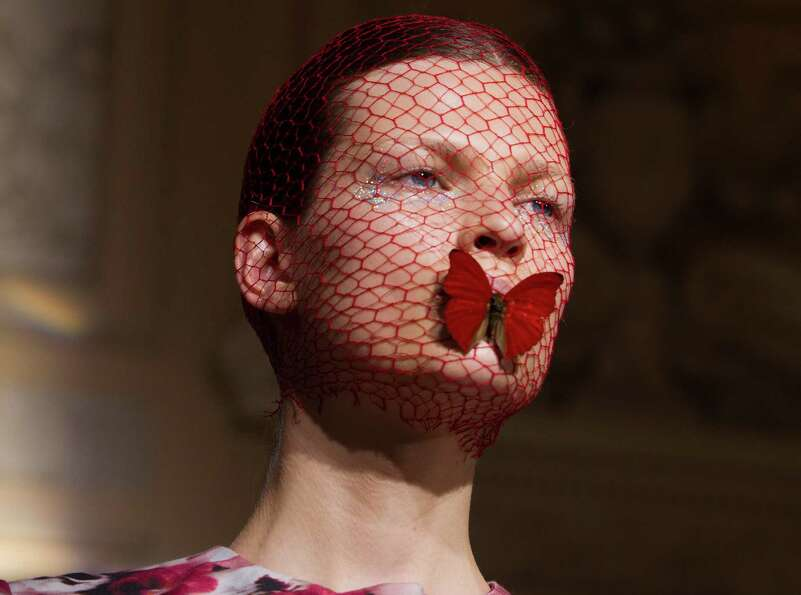 A model wears a creation by Italian designer Giambattista Valli as part of his presentation for Wome