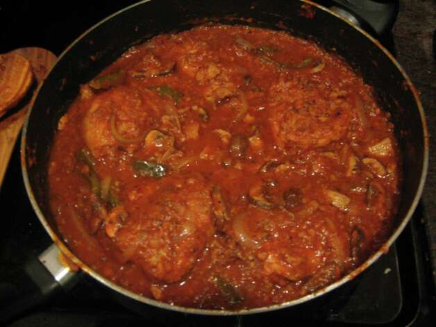 "Cacciatore (cat-cha-TOR-ray): This Italian recipe starts with a protein, usually chicken or rabbit, braised with tomatoes, mushrooms and herbs. Audio: Click here to hear the term ""Cacciatore."""