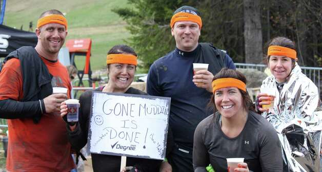 Team Gone Muddin' post headband: (left to right) Michael Zandri, Danbury, Eileen Curran, Danbury, Rick Falci, Brookfield, Margaret Heron, Danbury, Kim Petruska, Brookfield Photo: Contributed Photo