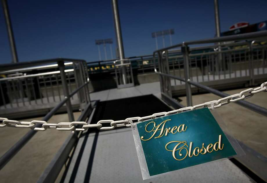 There are many sections of the O.Co Coliseum closed to fans, including this spot overlooking the field shown during the Oakland A's game against the Blue Jays in Oakland, Calif., Wednesday, May 9, 2012. Photo: Sarah Rice, Special To The Chronicle