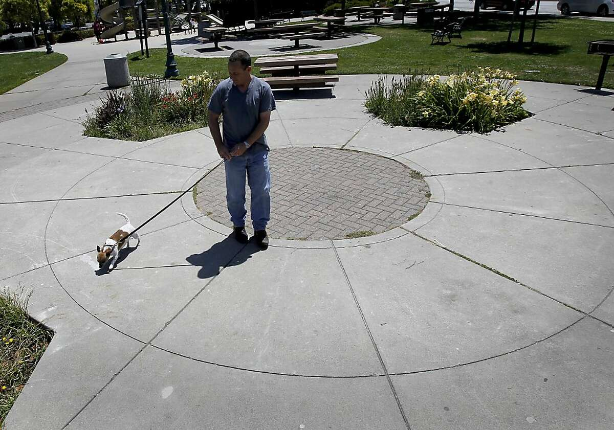 At a park near his home, Peter McGurty walks Riot, who received help with his vet bills. Peter McGurty walks his dog Riot at a park in Brisbane, Calif. Riot had a major operation after a stone blocked his urinary tract. A group of vets have formed SF Aid for Animals, which disperses grants to pet owners who may have a financial hardships .