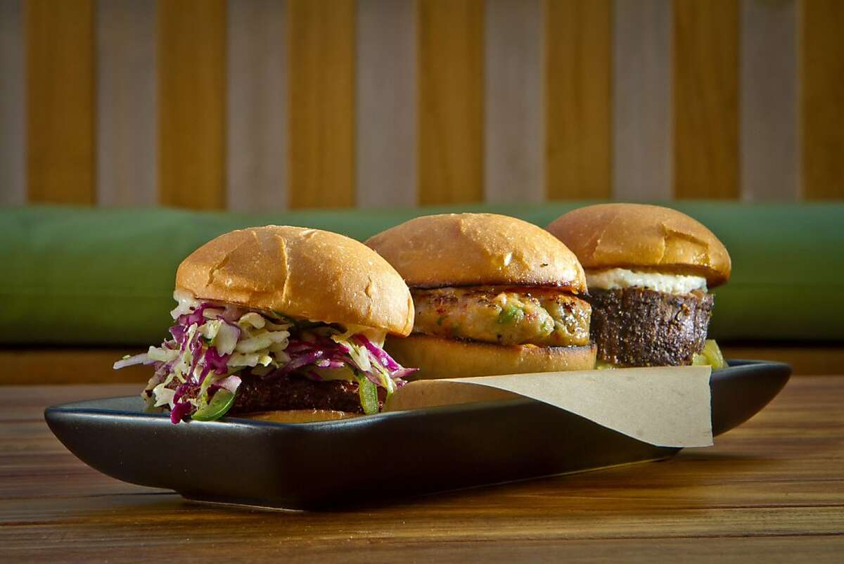 Sliders at the Sweetwater Cafe in Mill Valley, Calif., are seen on Saturday, June 30th, 2012. Left to right: the Crispy Chicken Slider, the Thai Shrimp Slider, and the Filet Mignon Slider.