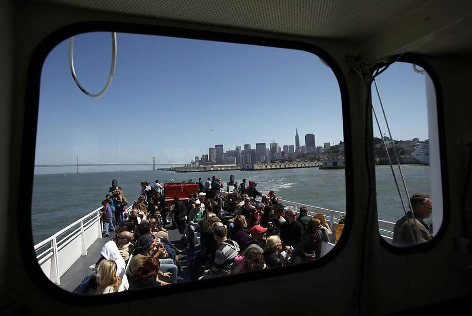 Passengers ride the Alcatraz Flyer to Alcatraz Island in San Francisco, Calif., Monday, July 2, 2012.  The National Park Service plans to relocate and possibly expand the ferry service. Photo: Sarah Rice, Special To The Chronicle