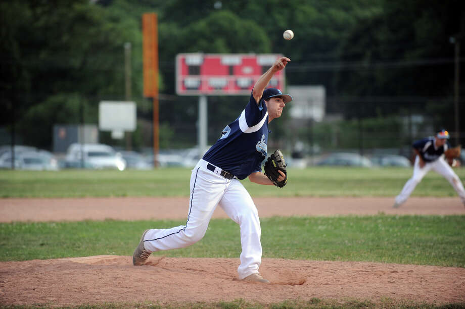 Stamford's Tom Fabricatore throws as Westport faces Stamford in a Senior American Legion Baseball game at Stamford High School in Stamford, Conn., July 3, 2012. Photo: Keelin Daly / Stamford Advocate