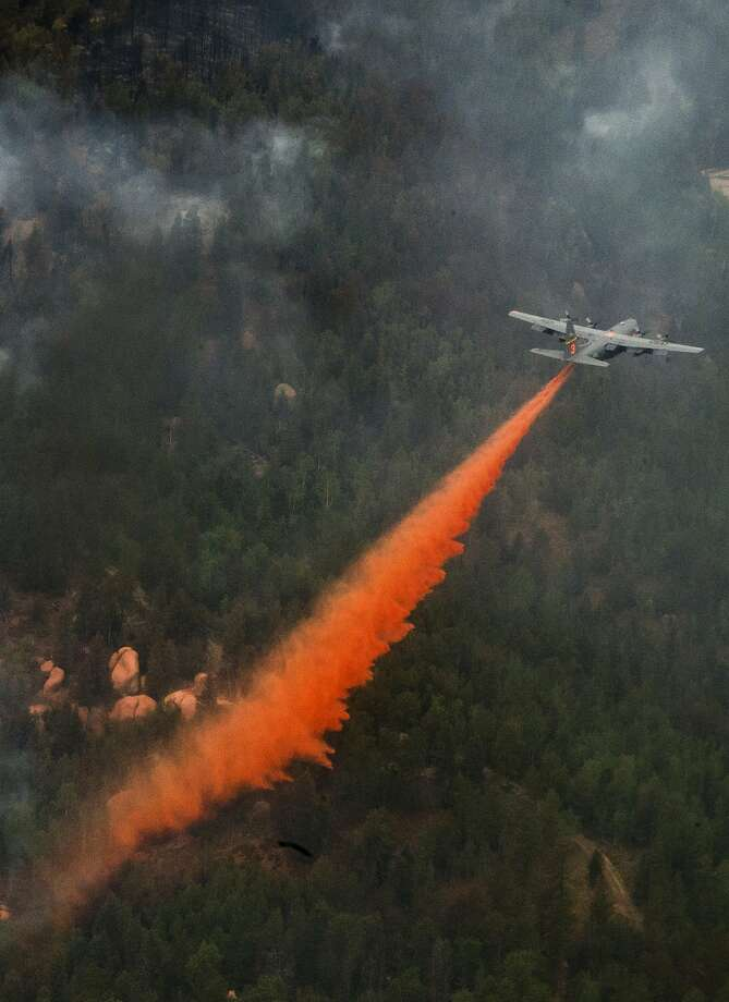 This C-130 Hercules piloted by the Air Force is one of eight military tankers that the U.S. Forest Service can draw on if needed to supplement its fleet. Photo: Stephany D. Richards, AFP/Getty Images