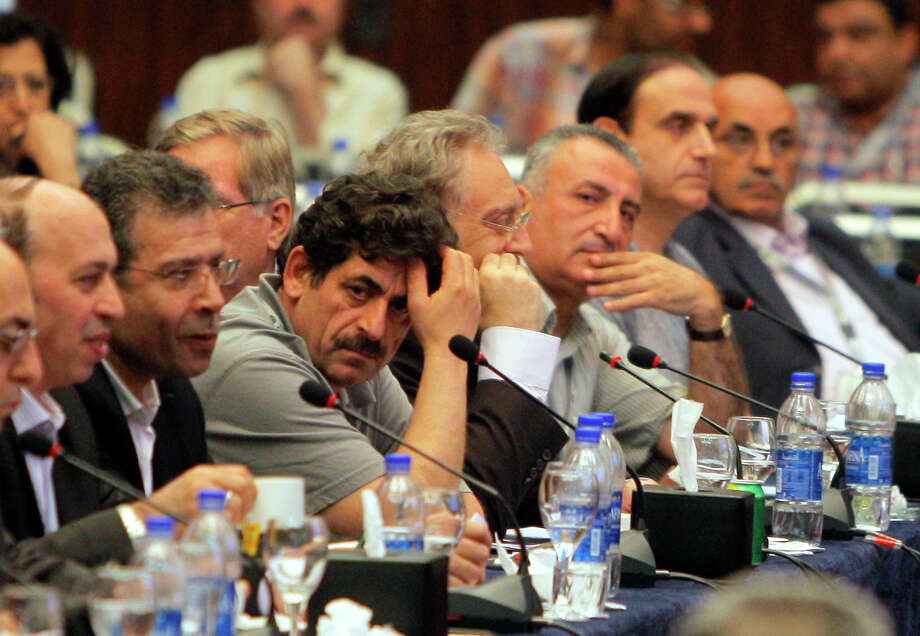 Exiled Syrian opposition figures meet in New Cairo, Egypt, Tuesday, July 3, 2012. The Arab League chief urged exiled Syrian opposition figures to unite at a meeting as a new Western effort to force President Bashar Assad from power faltered. (AP Photo/Amr Nabil) Photo: Amr Nabil / AP
