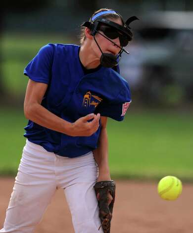 Black Rock's Alyssa Collazo pitches to Fairfield during the District 2 Little League softball championship Tuesday, July 3, 2012 at Unity Park in Trumbull, Conn. Photo: Autumn Driscoll / Connecticut Post