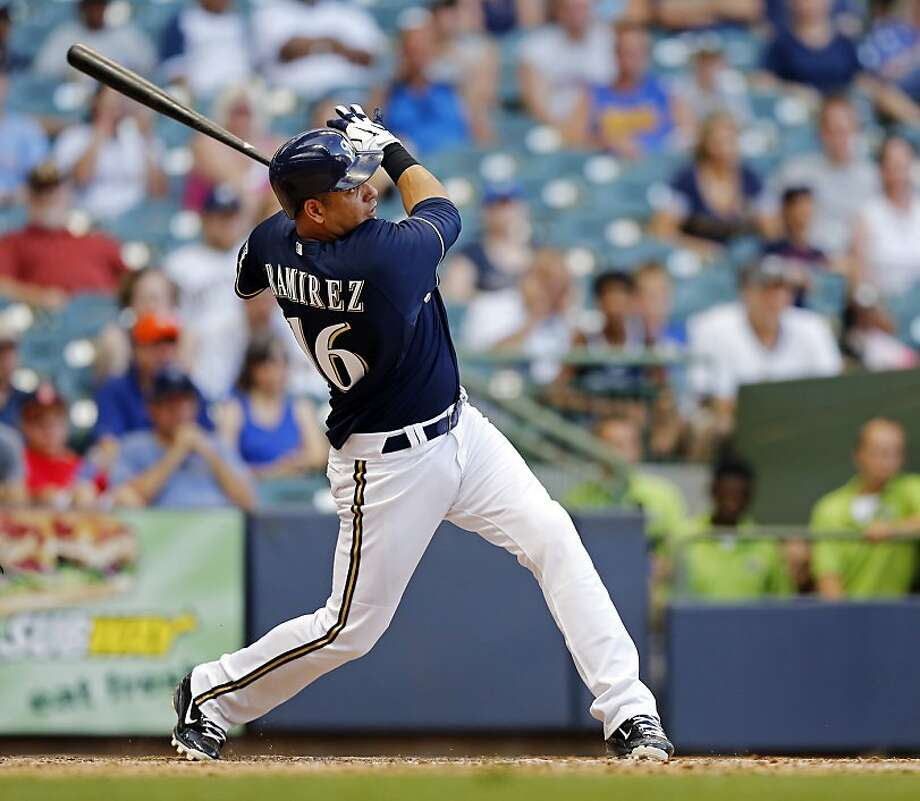 Milwaukee Brewers' Aramis Ramirez watches his two-run home run off Miami Marlins' Heath Bell during the 10th inning of a baseball game Tuesday, July 3, 2012, in Milwaukee. The Brewers won 13-12. (AP Photo/Tom Lynn) Photo: Tom Lynn, Associated Press