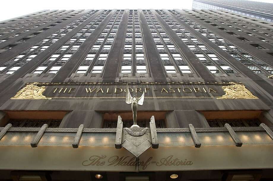 The facade of the Waldorf-Astoria hotel is seen in New York on October 25, 2004.   Hilton Hotels Corp., the No. 3 U.S. hotel company, said third-quarter earnings rose 79 percent, topping analysts' estimates, as a resurgence in business travel pushed room rates higher. Occupancy at the Waldorf increased 2.7 percentage points to 76.7 percent. Photographer:  Daniel Acker/Bloomberg News. Photo: Daniel Acker, Bloomberg News